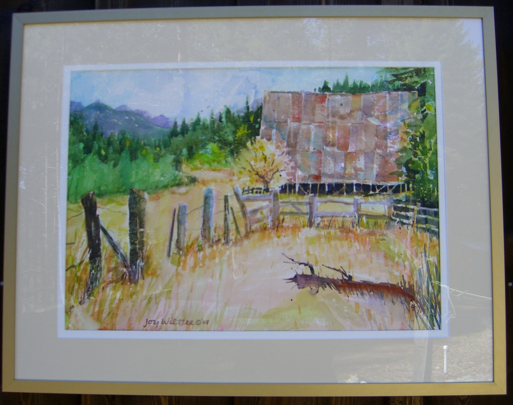 Bowerman Barn watercolor by Joy Wiltsee